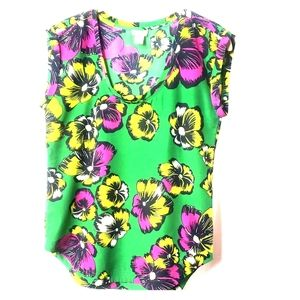 Size 0 J crew sleeveless floral print blouse  a29